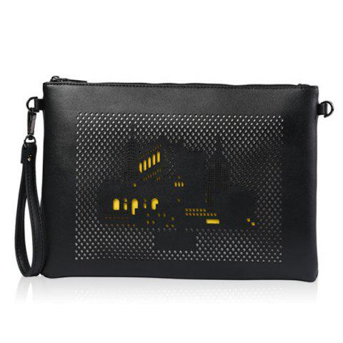 Outfits Zipper Building Pattern Hollow Out Clutch Bag
