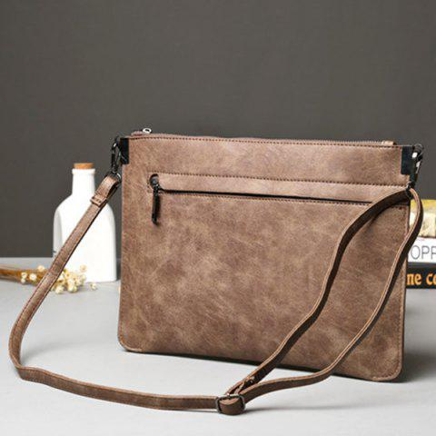 Latest Metal PU Leather Double Zipper Clutch Bag - LIGHT COFFEE  Mobile
