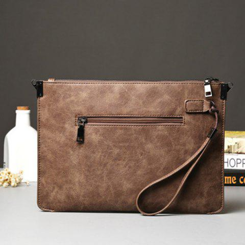 Online Metal PU Leather Double Zipper Clutch Bag - LIGHT COFFEE  Mobile