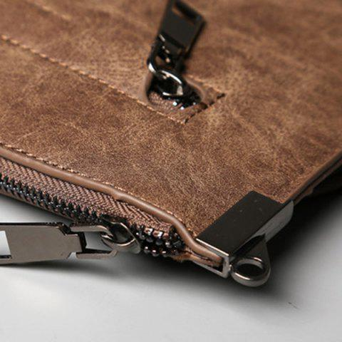 Outfits Metal PU Leather Double Zipper Clutch Bag - LIGHT COFFEE  Mobile