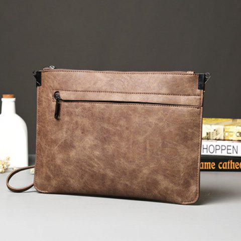 Outfit Metal PU Leather Double Zipper Clutch Bag - LIGHT COFFEE  Mobile