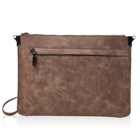 New Metal PU Leather Double Zipper Clutch Bag - LIGHT COFFEE  Mobile