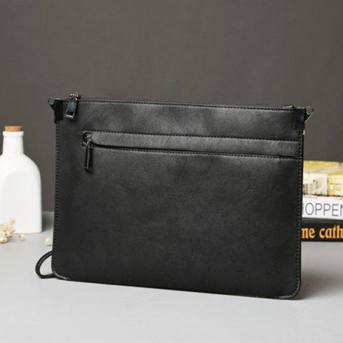 Outfit Metal PU Leather Double Zipper Clutch Bag - BLACK  Mobile