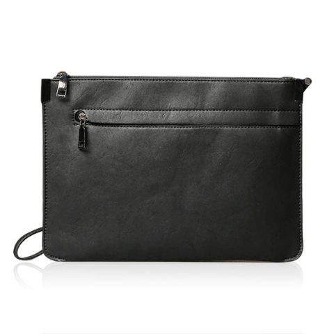 Métal cuir PU Double Zipper Clutch Bag
