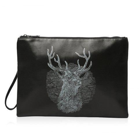 Shops Colour Splicing Deer Print Clutch Bag - BLACK  Mobile
