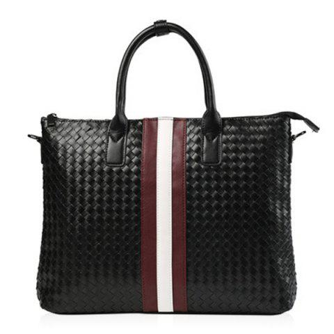 Outfit Colour Block Weave Striped Pattern Briefcase