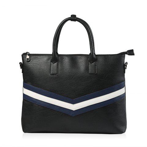 Online PU Leather Striped Pattern Colour Spliced Briefcase
