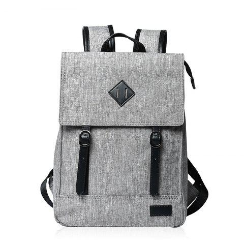 Latest Splicing Colour Block Double Buckle Backpack - LIGHT GRAY  Mobile