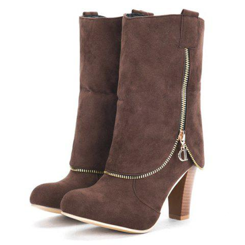 Outfits Chunky Heel Suede Zipper Boots - BROWN 38 Mobile