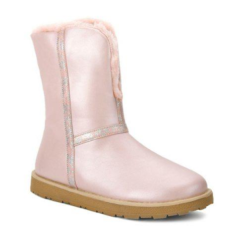 Outfits Colour Splicing PU Leather Snow Boots PINK 39