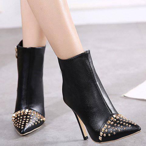 Shops Pointed Toe Rivet Stiletto Heel Ankle Boots