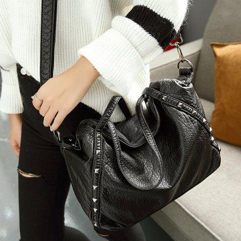 Studded Shoulder Bag - BLACK
