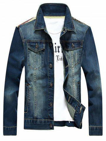 Stars and Stripes Applique Splicing Design Denim Jacket