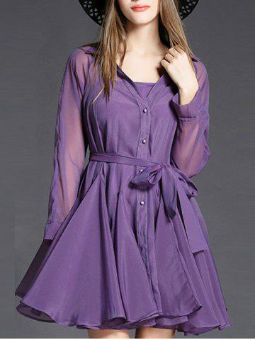 Long Sleeve Belted Dress with Cami Dress