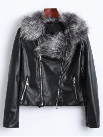 Shop Zippers Faux Leather Biker Jacket with Fur Collar BLACK 3XL