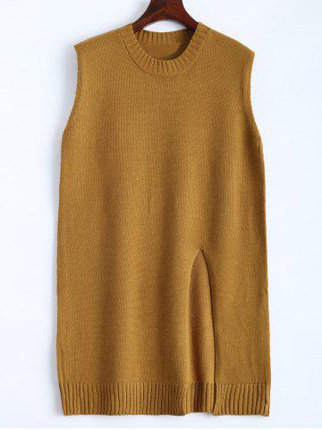 Plus Size Slit Sleeveless Jumper Vest Sweater - Ginger - 2xl