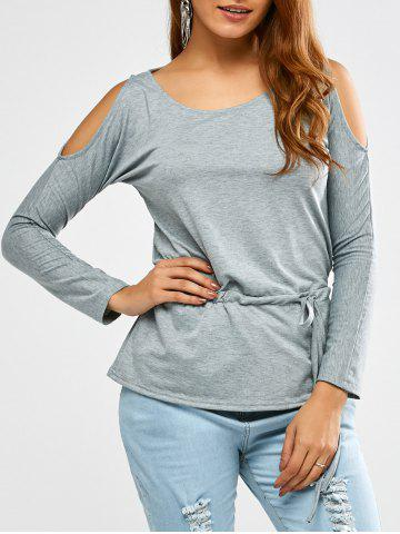 Chic Cold Shoulder Drawstring Waist T-Shirt