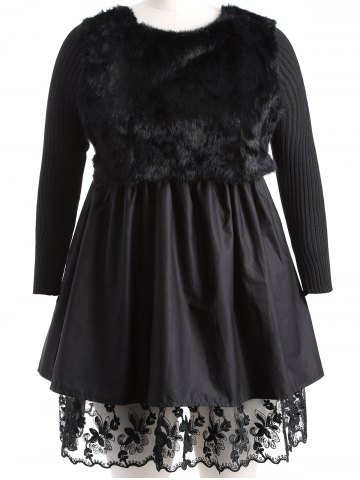 Plus Size Lace Splicing Faux Fur Knitted Dress - Black - 3xl