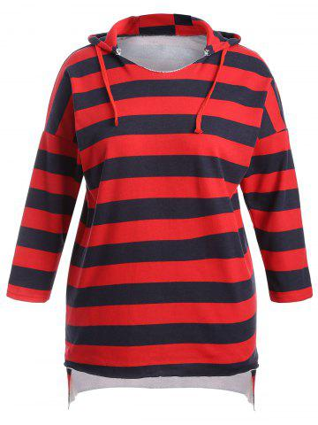 Best Plus Size Striped High Low Hoodie Dress