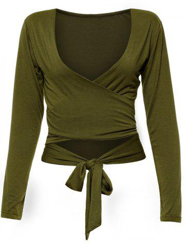 Wrap Front Long Sleeve Tie Crop Top - Army Green - L