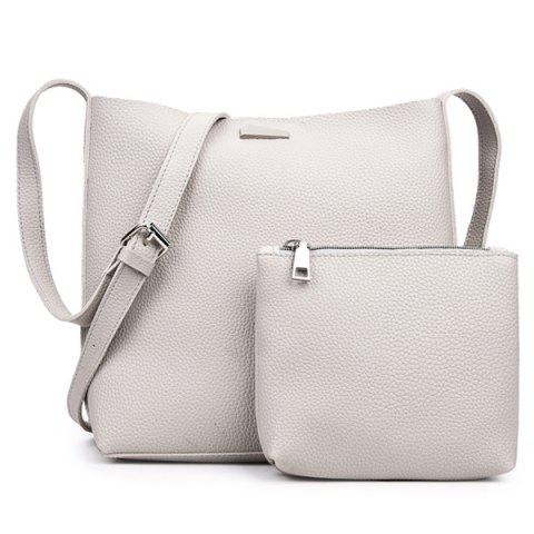 Metal Zip Shoulder Clutch Bag Set - Off-white