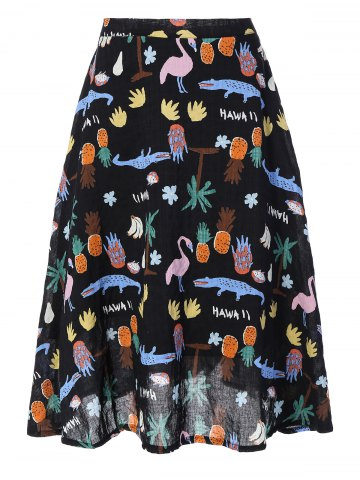 Discount Cute Fruit Print Midi Skirt