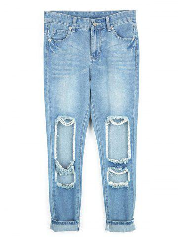 Chic Destroyed Ripped  Pencil Jeans