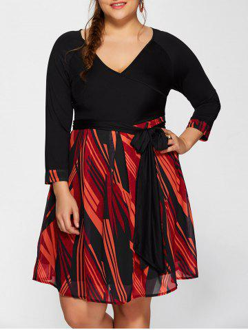 Trendy Plunging Neck Printed Plus Size Dress BLACK 6XL
