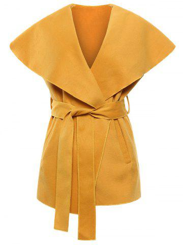 Shops Shawl Collar Belted Wrap Waistcoat YELLOW XL