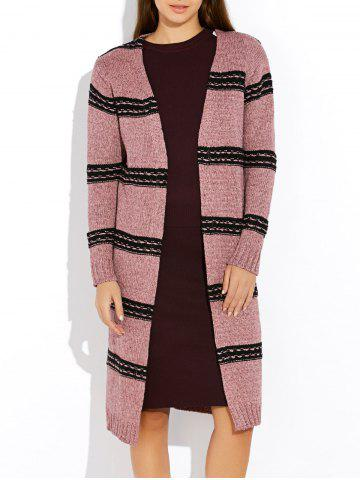 Outfit Vintage Thick Stripe  Long Sleeve Cardigan PINK ONE SIZE