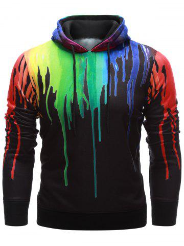 Trendy Drawstring Paint Dripping Hoodie BLACK XL