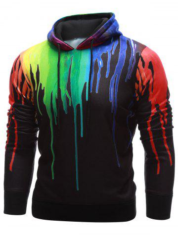 Hot Drawstring Paint Dripping Hoodie - L BLACK Mobile