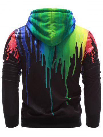 Chic Drawstring Paint Dripping Hoodie - L BLACK Mobile