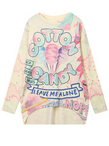 Buy High Low Cartoon Graphic Pattern Sweater COLORMIX ONE SIZE