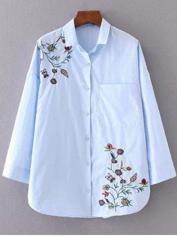 Outfits Flower Embroidered Shirt AZURE L