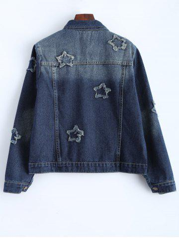 Affordable Plus Size Buttoned Star Graphic Jean Jacket - 4XL BLUE Mobile