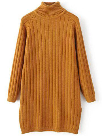 Online Turtleneck Side Slit Ribbed Knit Sweater EARTHY ONE SIZE