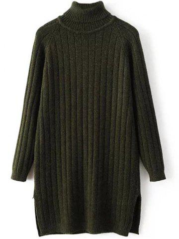 Turtleneck Side Slit Ribbed Knit Sweater - Blackish Green - One Size