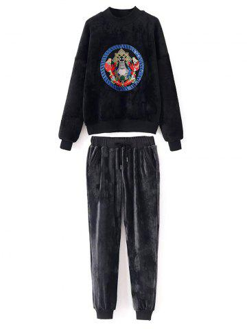 Shops Velvet Sweatshirt and Jogging Pants
