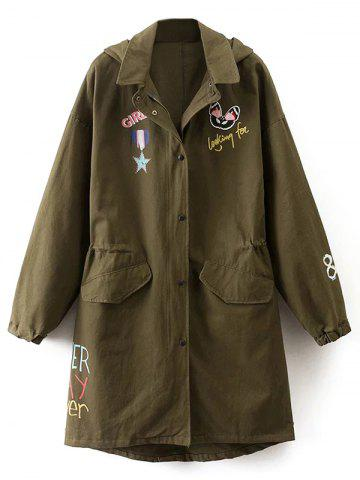 Hot Hooded Lightweight Coat With Pockets ARMY GREEN L