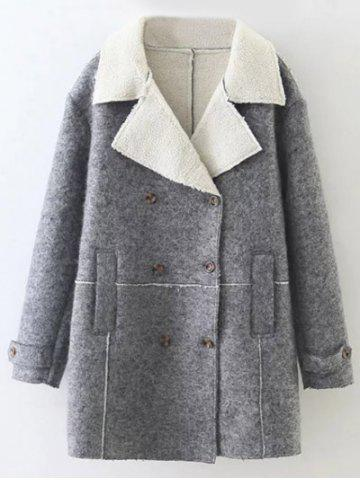 Lapel Wool Blend Double Breasted Coat - Gray - M