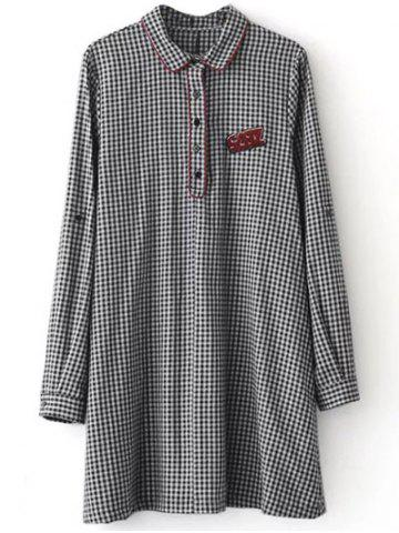 New Casual Long Sleeve Checked Mini Polo Shirt Dress - S WHITE AND BLACK Mobile