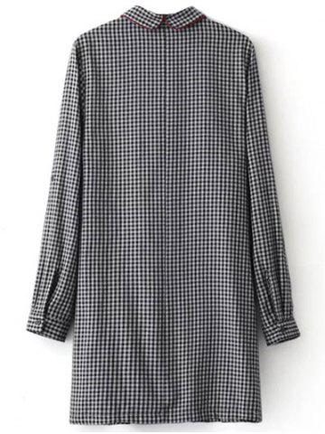 Trendy Casual Long Sleeve Checked Mini Polo Shirt Dress - S WHITE AND BLACK Mobile