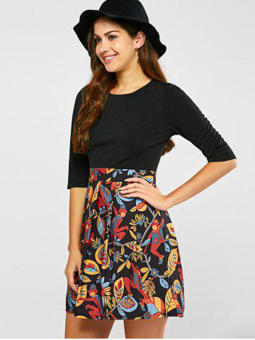 Chic Pleated Printed A Line Dress - XL BLACK Mobile