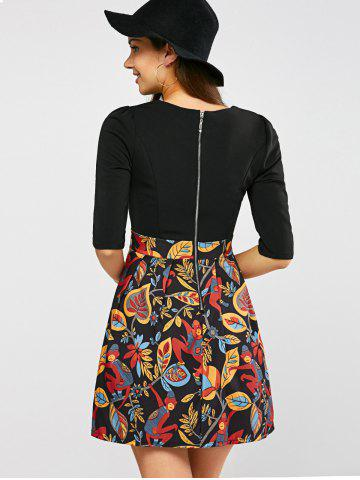 Affordable Pleated Printed A Line Dress - XL BLACK Mobile