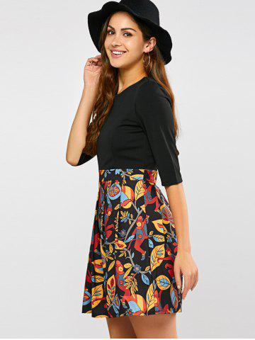 Latest Pleated Printed A Line Dress - XL BLACK Mobile