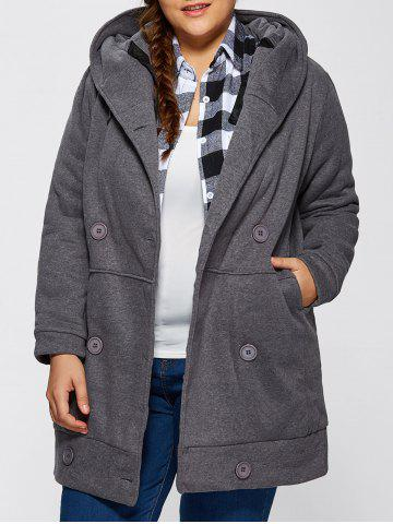 Latest Hooded Fleece Double-Breasted Coat GRAY ONE SIZE