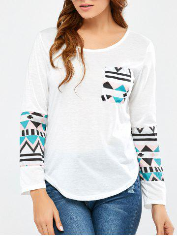 Affordable Geometrical Pocket Long Sleeve Tee