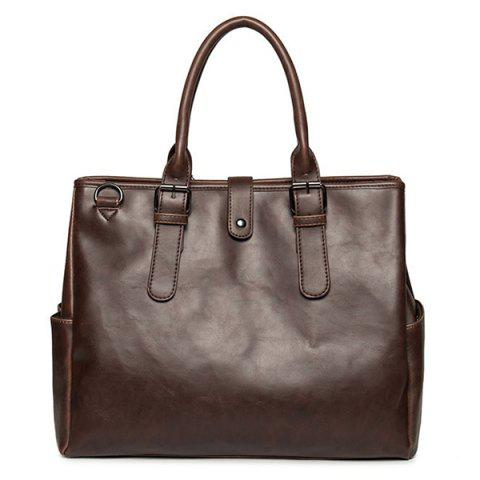 Affordable PU Leather Buckle Double Pocket Briefcase COFFEE