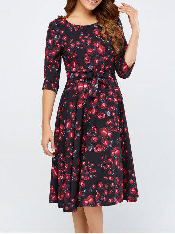 New Retro Style Print Midi Dress